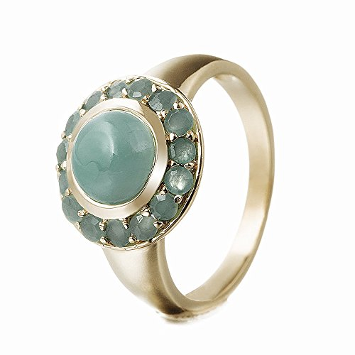 Goldancé - Damen Ring - 925 Silber, vergoldet - echter Edelstein: Smaragd ca. 2.08ct. - R8169E_SS/14K / Gr. 57 (18.1)