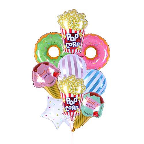 Toyvian Candy Ice Cream Donut Form Aluminium Folie Luftballons Party Dekoration Luftballons Liefert 9 Stück