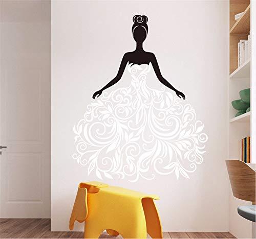 Hanjiming Abnehmbare Blume Reben Mädchen Wandaufkleber Vinyl Kunst Wand Schlafzimmer Wandkunst Aufkleber Kinderzimmer Wandaufkleber Home Decor Diy Wandbild 57 * 46 Cm