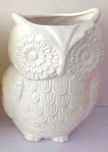 MyGiftÃ'® White Owl Design Ceramic Cooking Utensil Holder / Multipurpose Kitchen Storage Crock by MyGift Utensil Crock