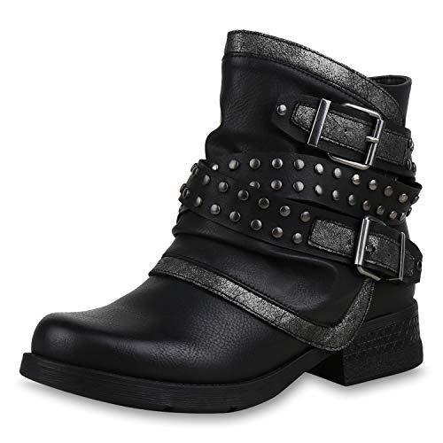 SCARPE VITA Damen Stiefeletten Biker Boots Leicht Gefütterte Schuhe Metallic 169169 Schwarz 37