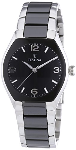Festina Ladies Analogue Watch F16533/2 with Stainless Steel Strap and Black Dial