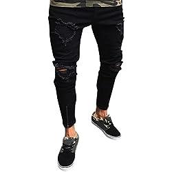 Pantalones hombres rotos,Sonnena Hombres Pantalones rasgado Slim Fit motocicleta Shorts pies Resistirá envejecer jeans hiphop streetwear moda pantalones