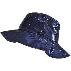 TOUTACOO, Sombrero para la Lluvia, Pamela para Mujer en Vinilo Azul