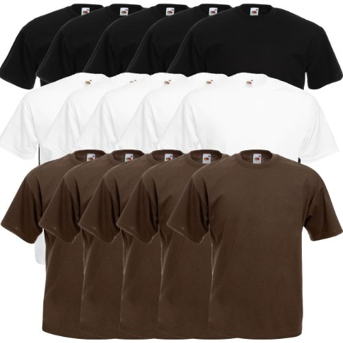 Fruit of the Loom Original Valueweight T Rundhals T-Shirt F140 5er 10er 15er 20er Pack 5x black 5x white 5x chocolate