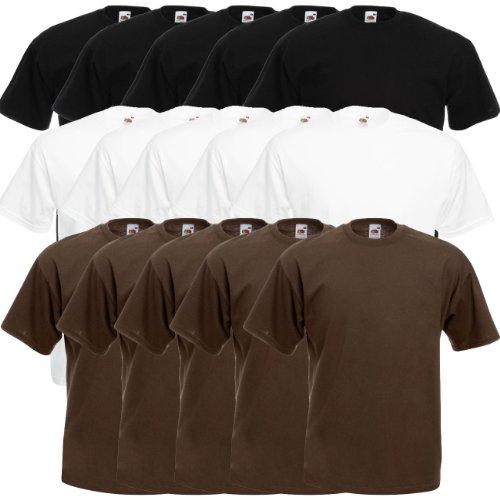 Fruit of the Loom Original Valueweight T Rundhals T-Shirt F140 5er 10er 15er 20er Pack 5x black 5x white 5x chocolate