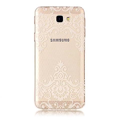 Etui pour Samsung Galay J5 2017 KSHOP Coque Protection en Gel Silicone TPU Premium Bumper Cover 2017 Transparent Crystal Design avec Motif - Rose Pâle, Elégant, Motif de Fleur de Vigne