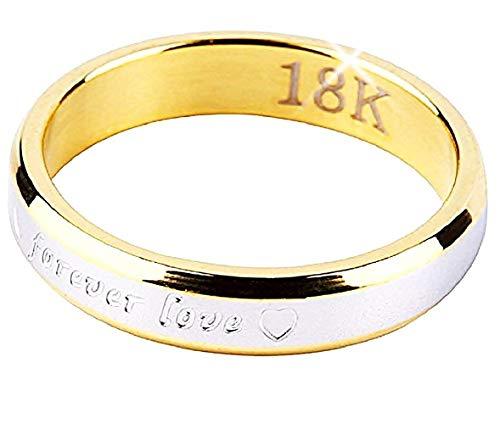 Evrylon anello fidanzamento donna fedina fidanzati acciaio inossidabile fede scritta forever love per sempre amore idea regalo unisex colore oro e argento size (it 16)