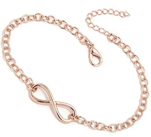2LIVEfor Armkettchen Silber und Gold Armband Unendlich Infinity Armkette Damen Unendlichkeit Anhänger Schleife Armkette Unendlichkeitszeichen Perlen (Rosegold)