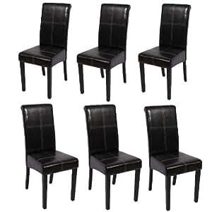 Lot de 6 chaises Novara III, couture décorative, cuir, noir/pieds foncés