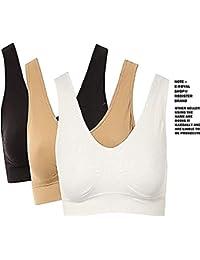 E - Royal Shop® Silky Sport Air Bra for Girls & Women Combo Pack of 3 Black; White; Skin Free Size 28 to 38 Combo Offer