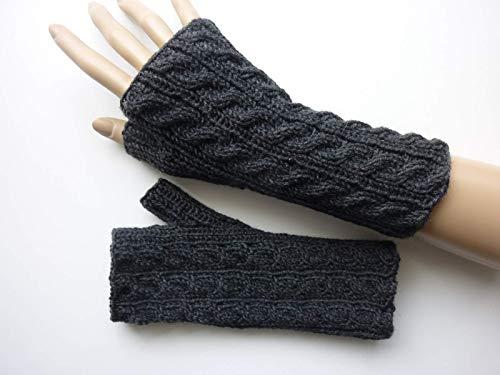 Armstulpen Anthrazit mit Zopfmuster aus Wolle handgestrickt -