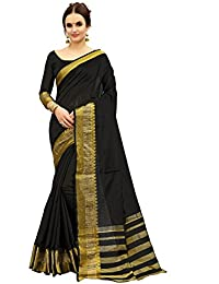 Glory Sarees Women's Cotton Silk Saree(silk106black_black)