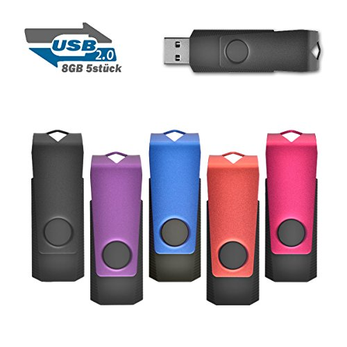 8GB Speicherstick 2.0 USB Stick Data Datenspeicher, 5 stück Mehrfarbig