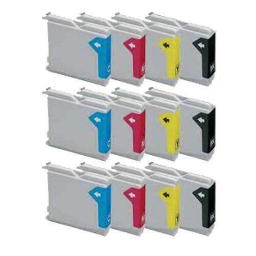 ECS Inks – Cartuchos de tinta equivalentes a los modelos LC970 y LC1000 de Brother para impresoras Brother compatibles, 12 unidades, 3 cartuchos de tinta negra, 3 cartuchos de tinta amarilla, 3 cartuchos de tinta magenta y 3 cartuchos de tinta cian