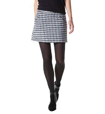 Promod Mini-jupe femme pied de poule Imprimé Noir 42