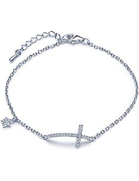 Unendlich U Klassisch Kreuz Sterne Damen Charm-Armband 925 Sterling Silber Zirkonia Armkette Verstellbar Armkettchen...