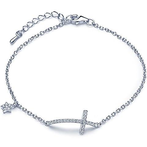 Unendlich U Klassisch Kreuz Sterne Damen Charm-Armband 925 Sterling Silber Zirkonia Armkette Verstellbar Armkettchen Armreif, Silber