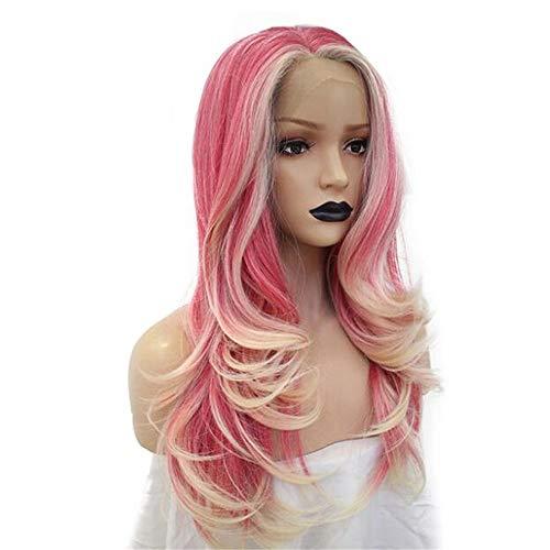 ZYC Faser Lange natürliche Welle Rosa Mix Platin Blonde synthetische Lace Front Perücke für Frauen Plum Fairy (Halloween Fairy Frisuren)