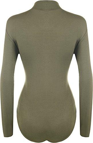 WearAll - Übergröße Damen Rollkragen Bodysuit Langarm Leotard - Ein Farben - Größe 44 - 54 Khaki