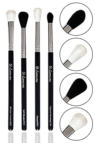 Pro Blending Brush Set - Smoky Eye Shadow Contour Kit - 4 Essential Shapes - Best Choice Crease, All Over Shader, Tapered, Soft Blender - For Shading & Blending of Eyeshadow Make Up Cream Powder