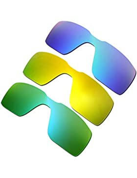 Hkuco Plus Mens Replacement Lenses For Oakley Probation Blue/24K Gold/Emerald Green Sunglasses