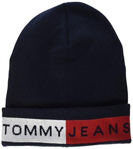 Tommy Hilfiger Unisex Strickmütze Logo Flag Beanie, Blau (Sky Captain 413), One Size