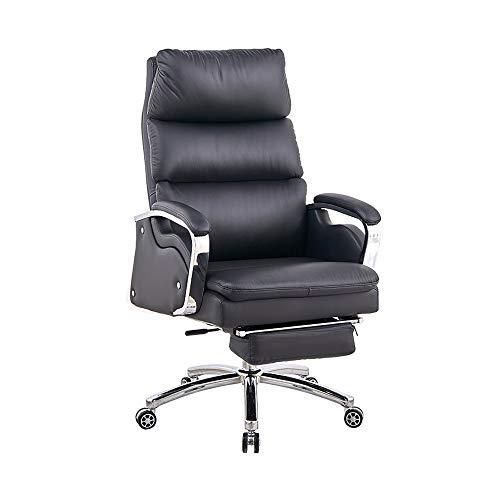 SMLCTY Möbel extra gepolstert Hohe Rücken Liegende Schwarze Kunstleder Relaxing Drehsessel mit Fußbank, Büro-Massage-Stuhl, 160 ° Großen Winkel Reclining