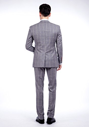 MA 100% laine Windowpane Hommes Costumes Slim Fit moderne (3 couleurs) Vérifie Gris