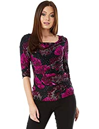 fc616d8ad44add Roman Originals Womens Sequin Cowl Neck 3 4 Length Sleeves Floral Top -  Ladies Jersey