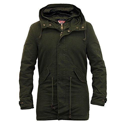 Herren Fischschwanz Jacke Tokyo Laundry Mantel Mit Kapuze Leinen Gepolstert Gesteppt Winter Neu Khaki - 1J8206