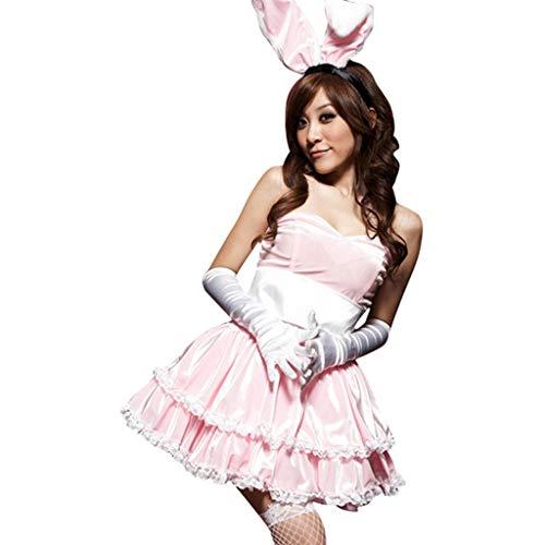 Fee Womens Rosa Kostüm - Lazzboy Kostüme Damen Winter Weihnachtsfeier Cosplay Kaninchen Tänzerin Minikleid Set(M,Rosa)
