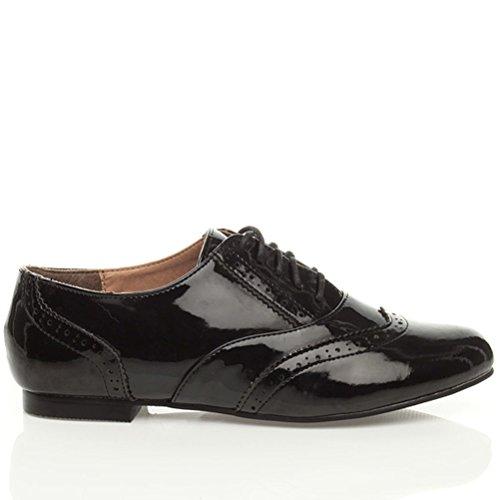 Chaussures plates richelieu vintage à lacets femmes école travail oxford taille Cuir noir vernis