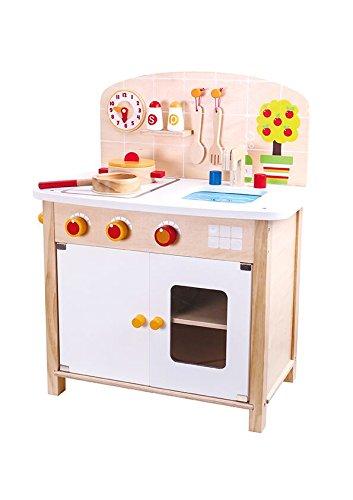 Tooky Toy großer Spielzeug Herd mit Kochplatten, Topf, Pfanne, Kochlöffel, Wanduhr, Spüle, Backofen und mehr - Spielküche als perfekte Vorbereitung für Kinder - ab 36 Monaten - ca. 52 x 30 x 63 cm