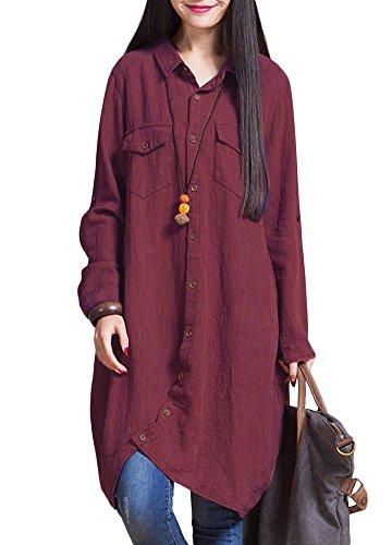 Romacci Frauen-Baumwollleinen Lange Bluse unregelmäßiger Rand Buttons Lose beiläufige Weinlese-Spitzen-Hemd-Kleid-Weiß/Violett/Dunkelblau, Burgund, 4XL - Spitzen Kragen Kleid Shirt