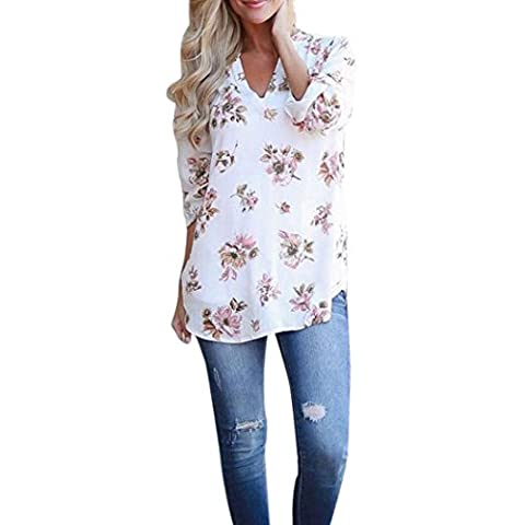 Janly®Women V-Neck Tab-Sleeve Floral Printed Blouse T Shirt Tops Blouse Clothes (L)