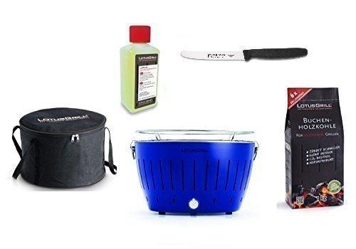 Lotus Bleu Outremer Barbecue Kit de démarrage 1x Lotus Couleur Spéciale 1x Hêtre Charbon de bois 1kg, 1x Pâte combustible 200ml, 1couteau Giesser 11cm avec lame crantée, 1x sac de transport