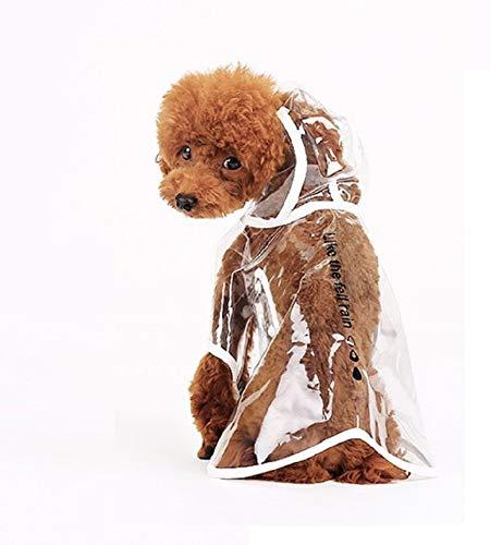 Ducomi dogalize - impermeabile con cappuccio in nylon trasparente per cane - cappottino antipioggia modello poncho per cani (white, m)