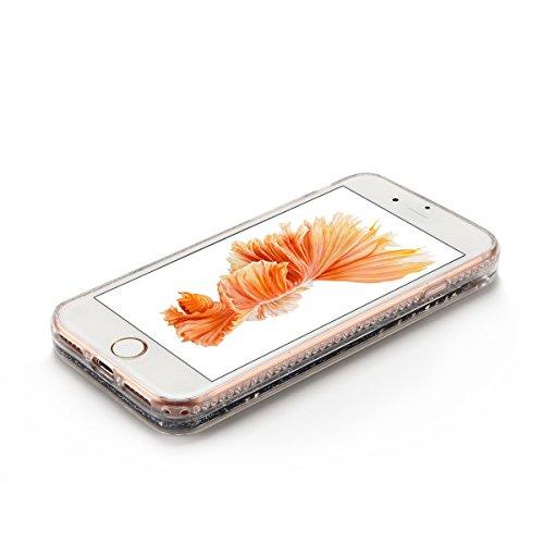 Cover iPhone 7 Custodia iPhone 7 Liquido Anfire Trasparente Rigida Duro Plastica PC Case per Apple iPhone 7 (4.7 Pollici) Sabbie Mobili Shell 3D Bling Glitter Floating Quicksand Copertura Hard Shock S Nero