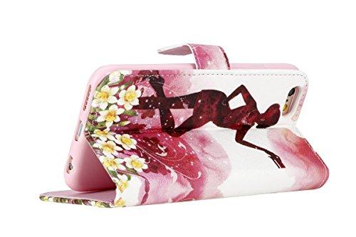 SainCat iPhone 5 / 5S / SE Custodia,Creative Disegno Stampa Libro Stile PU Leather Flip Chiusura Magnetica Protettiva Portafoglio Wallet in Pelle Stand Cover Case Con Funzione di Supporto e Morbido TP Rrubare Ragazza