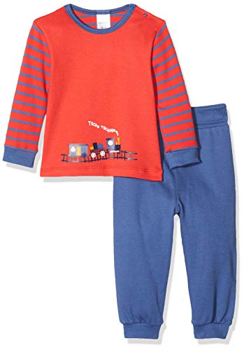 Schiesser Baby-Jungen Zug Anzug lang 2-teilig Zweiteiliger Schlafanzug, Rot (Rot 500), 86 (Herstellergröße: 086)