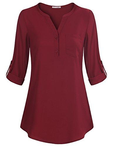 Messic Chiffon Shirt für Damen, Jugend Halbarm Ärmel Freizeit Enger V Ausschnitt mit Falten Office Top Bluse Tunika (XL,Weinrot) (Bluse Tunika)