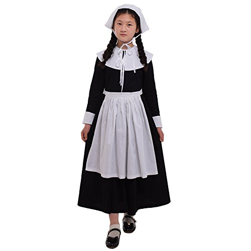 lle Pilger Mädchen Kinder Kolonial Puritan Kostüm Kleid (Ein Satz Puritan Kostüm, US-14) (Kolonial Mädchen Halloween Kostüm)