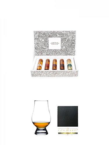 Tastillery Whisky Tasting Probierset Whisky Weltreise in Geschenkbox 5 x 50ml + The Glencairn Glass Whisky Glas Stölzle 1 Stück + Schiefer Glasuntersetzer eckig ca. 9,5 cm Durchmesser