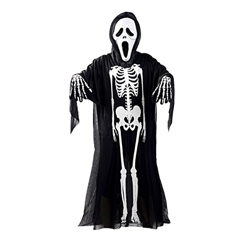 Ballylelly skull skeleton ghost costume cosplay adulti bambini halloween carnevale masquerade fancy dress clothes + skull devil mask + guanti (bianco e nero - bambini)