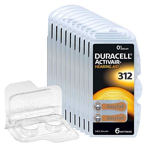 60x Duracell Activair 312 Hörgerätebatterien, 10x6er Blister PR41 Braun 24607 Hearing Aid + Aufbewahrungsbox für 2 Batterien (10, 13, 312, 675) transparente Batteriebox, Knopfzellen < Ø 12 mm x H 6 mm