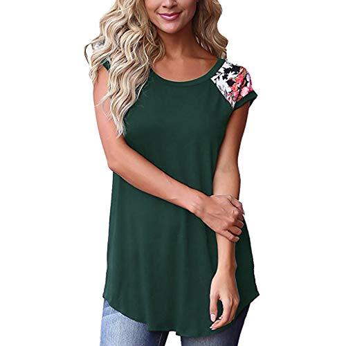 kolila Oberteil Tunika Damen Lässiges Blumendruck Farbblock Kurzarm T Shirts Blusen Tops -