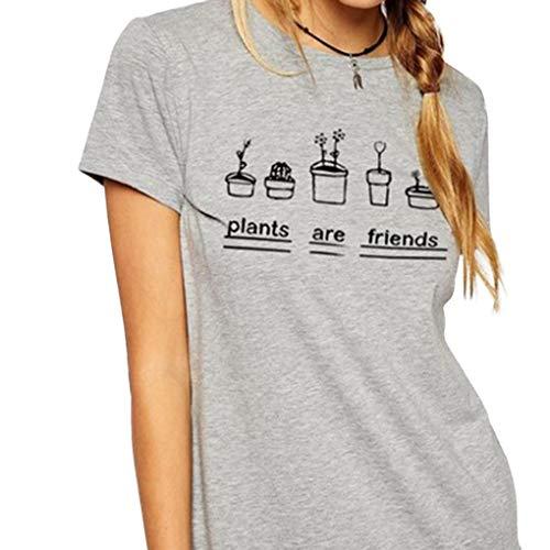 Luckiests Frauen-T-Shirts Graphic Top Tees Pflanzen sind Freunde Frauen-T-Shirt Short Sleeve Top