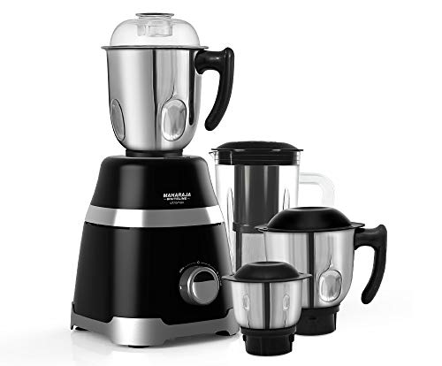 Maharaja Whiteline Mixer Grinder Ultramax Elite 750 Watt with 3 Stainless Steel + 1 Juicer Jar with 5 Year Motor Warranty (Black)