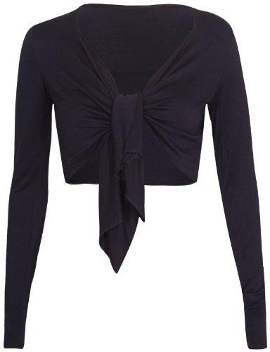 A maniche lunghe da donna Ladies anteriore aperto cravatta chiusura bolero coprispalle Cardigan Corto Elasticizzato Top